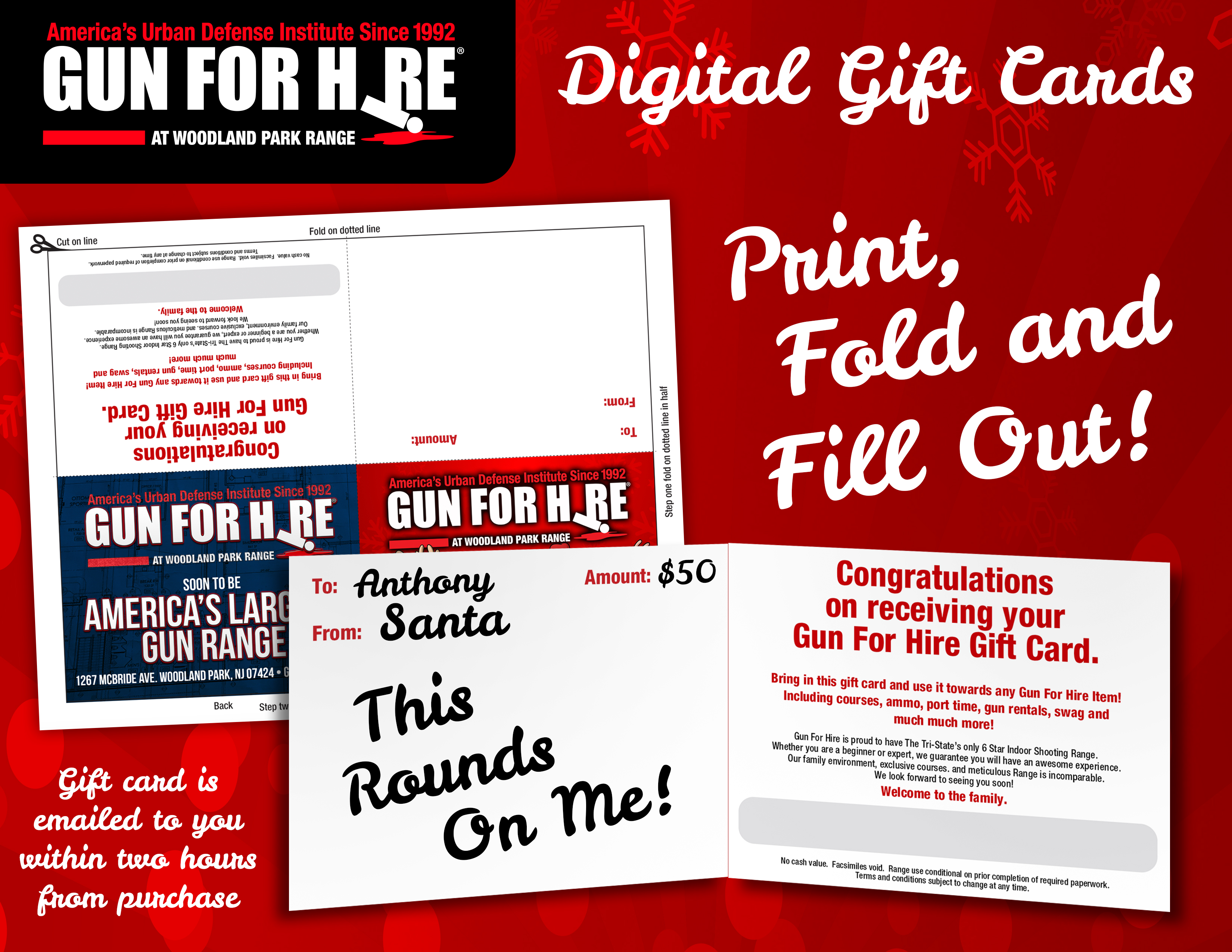 Digital Gift Card Advertising - Digital Santa and Crew Foldable Gift Card. Receive digital gift card via email, you can print it, fold it and give!