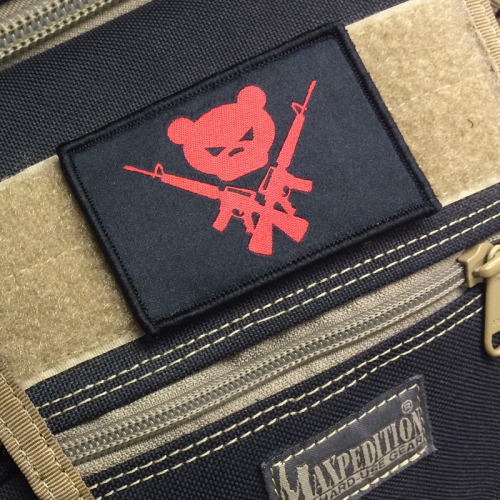 Gun For Hire Patch 01 500x500 - Gun For Hire Velcro Morale Patch (Red Bear)